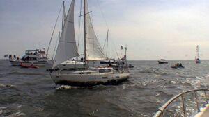 Matt Rutherford arrive inAnnapolis Harbor