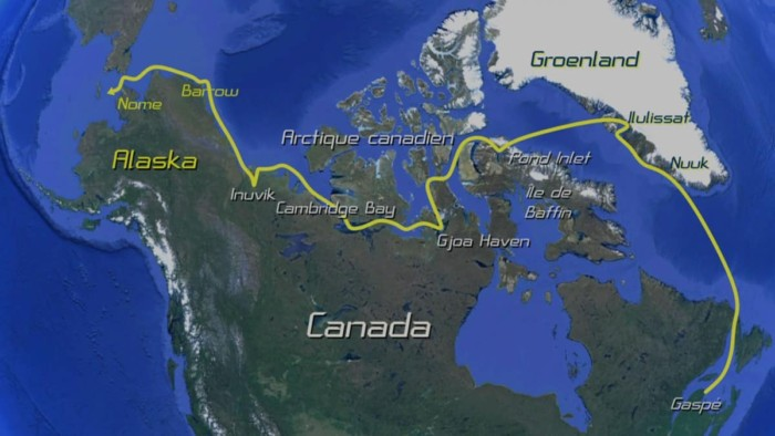 Northwest Passage: Greenland to the Bearing Sea Video - Routte